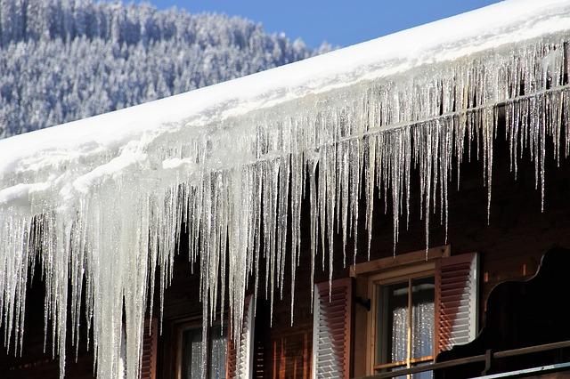 Frozen Gutters in the winter.