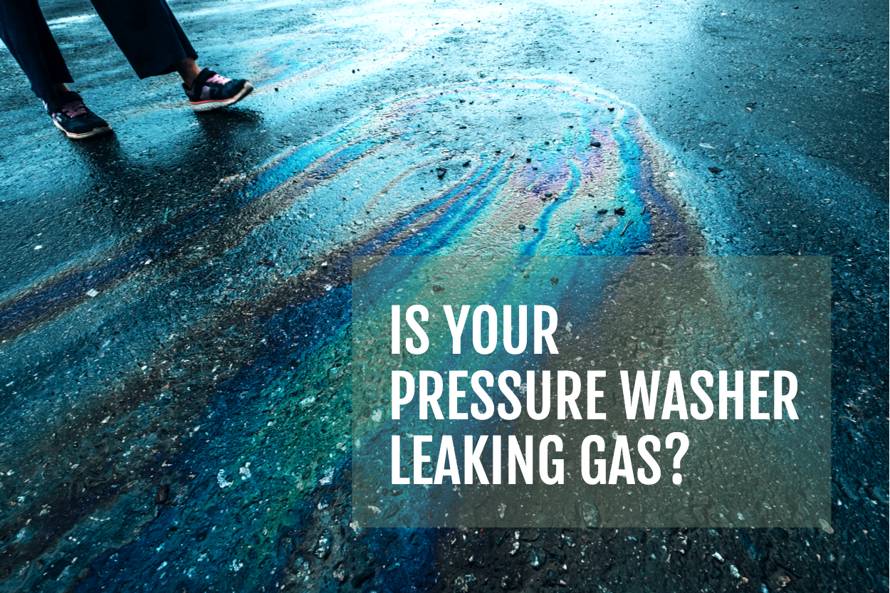 image of asphalt with leaked gas from a pressure washer