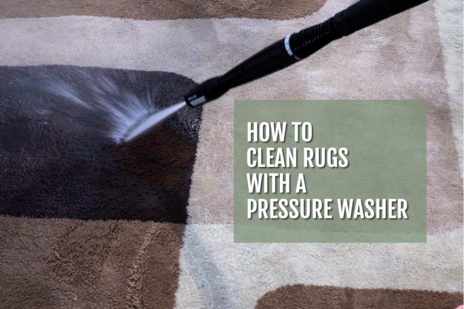 Image of a rug being cleaned with a pressure washer